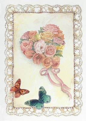 Heart Shape Bouquet With Butterfly Poster