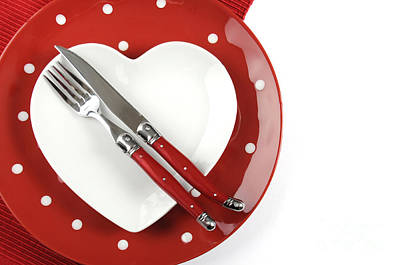 Heart Shape Red Polka Dot Dining Table Place Setting Poster by Milleflore Images