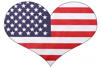 Heart Shape Usa Flag Poster by Milleflore Images