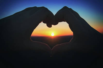 Poster featuring the photograph Heart Shaped Hand Silhouette - Sunset At Lapham Peak - Wisconsin by Jennifer Rondinelli Reilly - Fine Art Photography