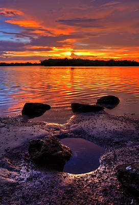 Heart Shaped Pool At Sunset Over Lake Worth Lagoon On Singer Island Florida Poster