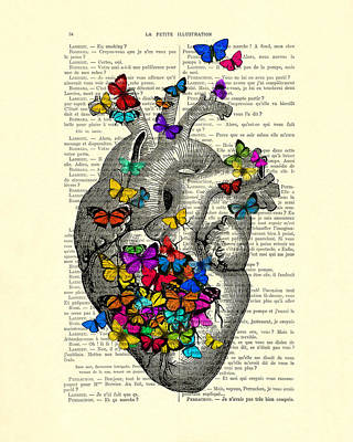 Heart With Rainbow Butterflies Poster by Madame Memento
