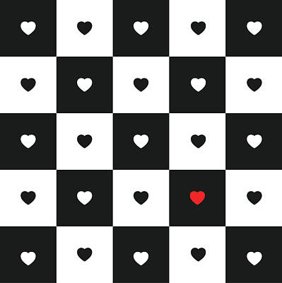 Hearts On Black And White Classic Chessboard Poster by Elena Chepel
