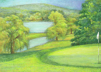 Poster featuring the painting Heavenly Golf Course Landscape by Judith Cheng
