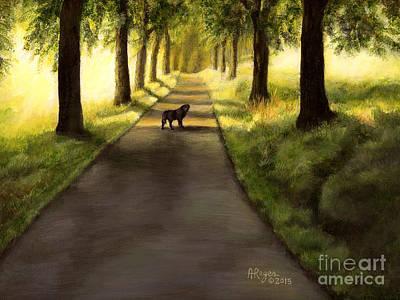 Serenity - Walk With Black Labrador Poster