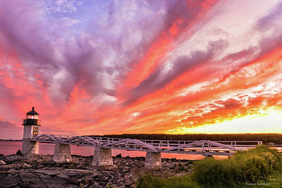 Poster featuring the photograph Heavens On Fire - Port Clyde by Expressive Landscapes Fine Art Photography by Thom