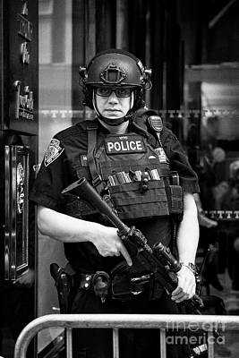 heavily armed nypd protective security detail outside trump tower manhattan New York City USA Poster