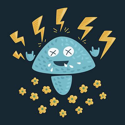 Heavy Metal Mushroom Poster by Boriana Giormova