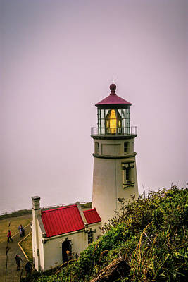 Heceta Head Lighthouse In The Fog Poster