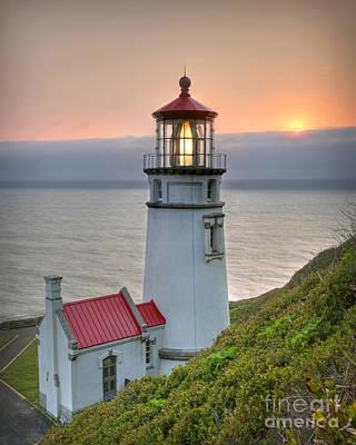 Heceta Lighthouse At Sunset Poster