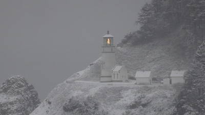 Heceta Lighthouse Snowstorm Poster