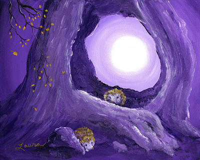 Hedgehogs In Purple Moonlight Poster