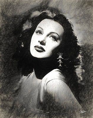 Hedy Lamarr Draw Poster by Quim Abella