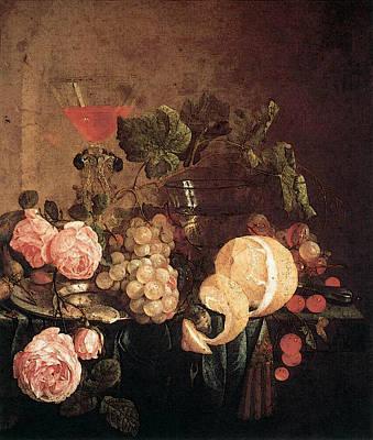 Heem Jan Davidsz De Still Life With Flowers And Fruit Poster