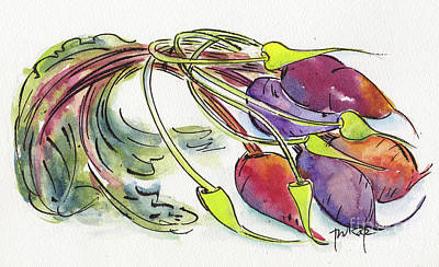 Poster featuring the painting Heirloom Beets And Garlic Scapes by Pat Katz
