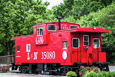Poster featuring the photograph Helena Red Caboose by Parker Cunningham