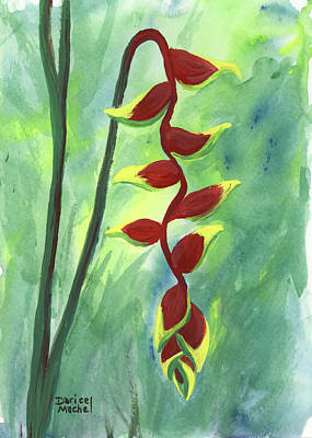 Poster featuring the painting Heliconia  by Darice Machel McGuire