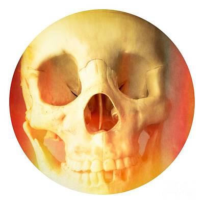 Hell Fire Skull Round Beach Towel Blanket Poster by Edward Fielding