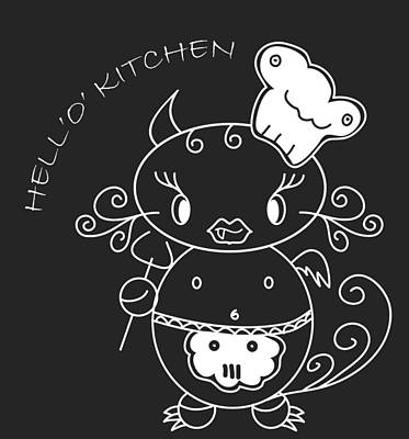 Hell Oh Katy - She-devil Cartoon In Kitchen Will Cook The Best For You And You Friends Poster by Pedro Cardona