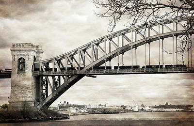 Hellgate Bridge In Sepia Poster