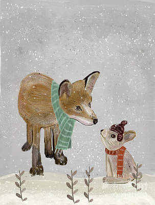 Poster featuring the painting Hello Mr Fox by Bri B