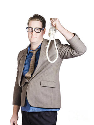 Helpless Businessman Holding Rope With Tied Noose Poster