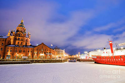 Poster featuring the photograph Helsinki By Night by Delphimages Photo Creations