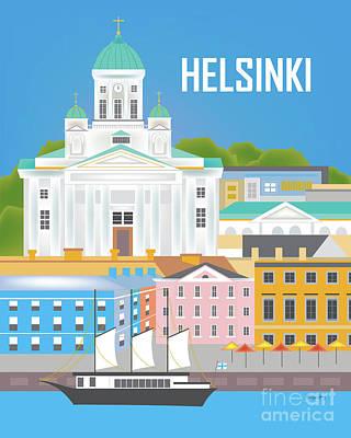 Helsinki Finland Vertical Scene Poster by Karen Young