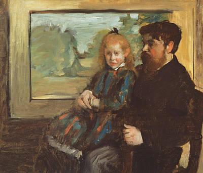 Henri Rouart And His Daughter Helene Poster by Edgar Degas