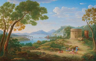 Henrik Frans Van Lint Antwerp 1684-1763 Rome A Classical Landscape With Figures Seated Before A Te Poster