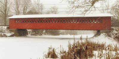Henry Covered Bridge In Winter Poster