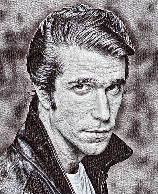 Henry Winkler Drawing Poster by Pd