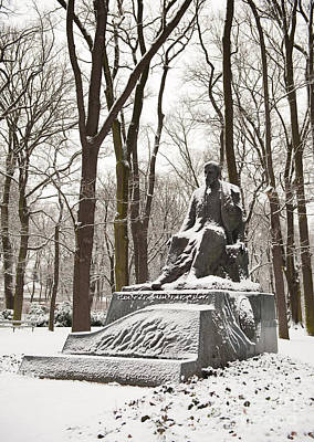 Henryk Sienkiewicz Monument In Winter Poster by Arletta Cwalina