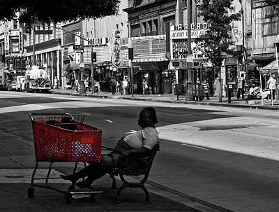 Poster featuring the photograph Her Red Cart by Lorraine Devon Wilke