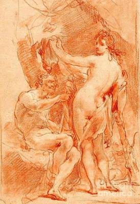 Poster featuring the painting Hercules And Omphale by Pg Reproductions