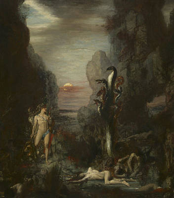 Hercules And The Lernaean Hydra Poster by Gustave Moreau