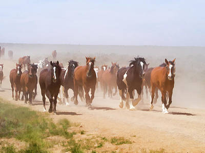 Poster featuring the digital art Herd Of Horses During The Great American Horse Drive On A Dusty Road by Nadja Rider