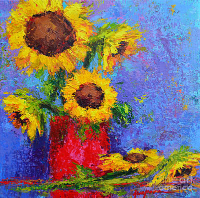 Here Comes The Sunshine Modern Impressionist Floral Still Life Palette Knife Work Poster by Patricia Awapara