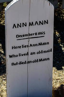 Here Lies Ann Mann - Old Tucson Arizona Poster