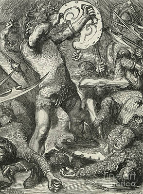 Hereward Cutting His Way Through The Norman Host Poster