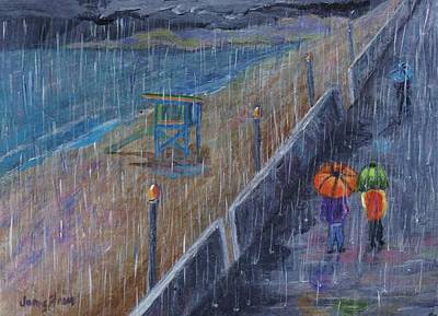 Poster featuring the painting Hermosa Beach Rain by Jamie Frier