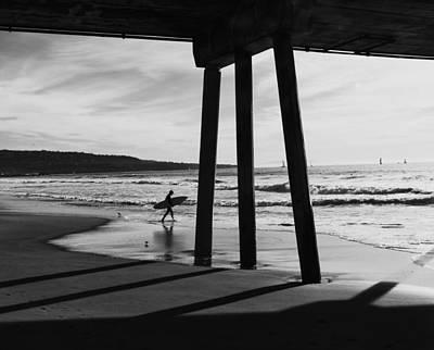 Hermosa Surfer Under Pier Poster