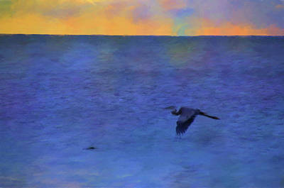 Poster featuring the photograph Heron Across The Sea by Jan Amiss Photography