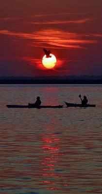 Heron And Kayakers Sunset Poster