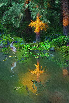 Poster featuring the digital art Heron Art by Dale Stillman