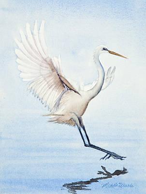 Heron Landing Watercolor Poster by Michelle Wiarda