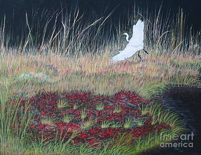 Poster featuring the painting Heron Over Autumn Marsh by Cindy Lee Longhini