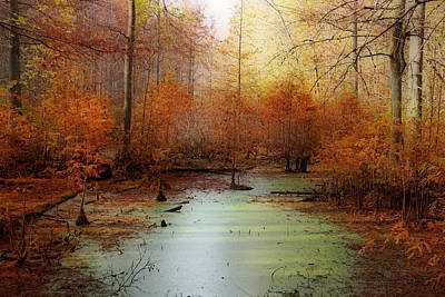 Heron Pond - Autumn Poster by Sandy Keeton