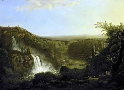 Het Dal Van De Anio Met De Watervallen Van Tivoli Poster