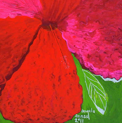 Hibiscus Closeup Poster by Angela Annas